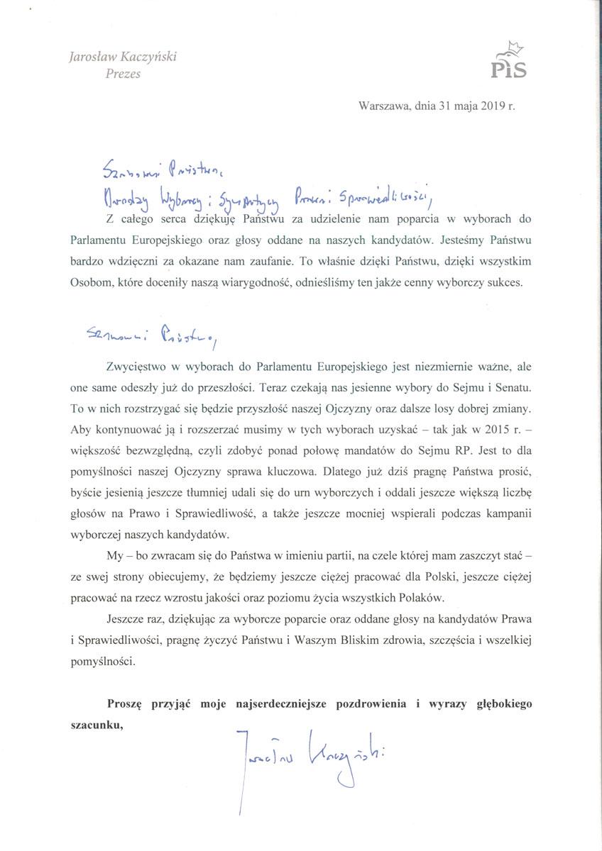List-Prezesa-PiS-podziekowanie-po-wyborach
